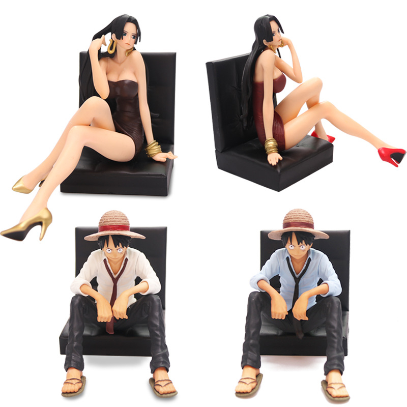 New!One Piece Action & Figures Luffy & Hancock PVC Comic Figure Toy With Sitting Sofa For Collection Decorations Birthday Gifts