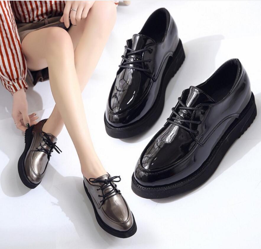 Creepers Nueva Plana Plataforma De Primavera Cuero black Mujer Las Desgaste Vintage Zapatos Gun Mujeres Casual Encaje Color TXqzPxAqpn