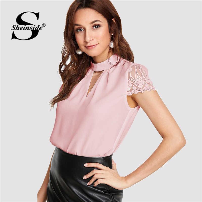 Sheinside/Розовая Шифоновая Блузка с v-образным вырезом и кружевным рукавом для женщин, летний топ 2019, плиссированные детали, элегантные женские топы и блузки