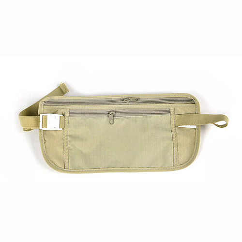 Wholesale 5pcs ( Money Travel Waist Belt Zipped Pas Wallet Pouch Bum Bag Security-Khaki