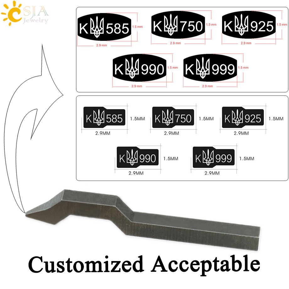 CSJA Curve Bent Shank Stamp Tool for Jewelry Making New K 925 750 585 999 990 Gold Sterling Silver Punch Mark Metal Mold E554