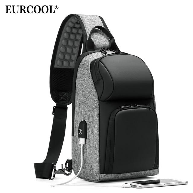 EURCOOL iPad Sacos Do Mensageiro Ocasional Saco de Peito para Homens 9.7 polegada com Porta de Carregamento USB Saco de Ombro Masculino n1905