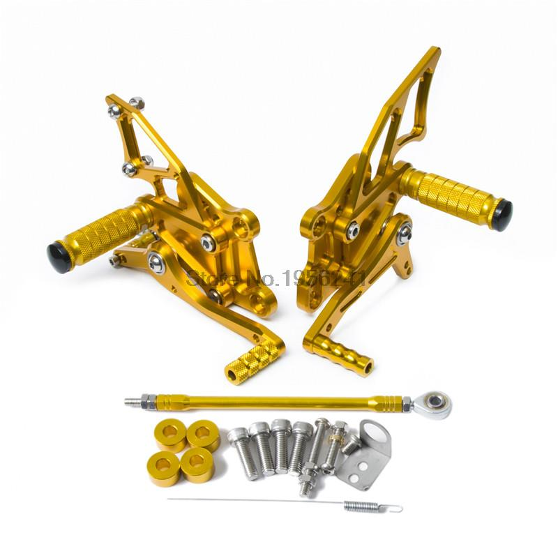 Adjustable Pedals CNC Motorcycle Rear Foot Rest Pegs for Yamaha YZF-R25 YZF-R3 2014 2015 2016 YZF R3 R25 Gold