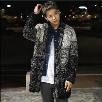 Men's Autumn And Winter Loose Thickening Sweaters Thermal Medium-long Cardigan Coat Camouflage Long Gradient Sweater Outerwear
