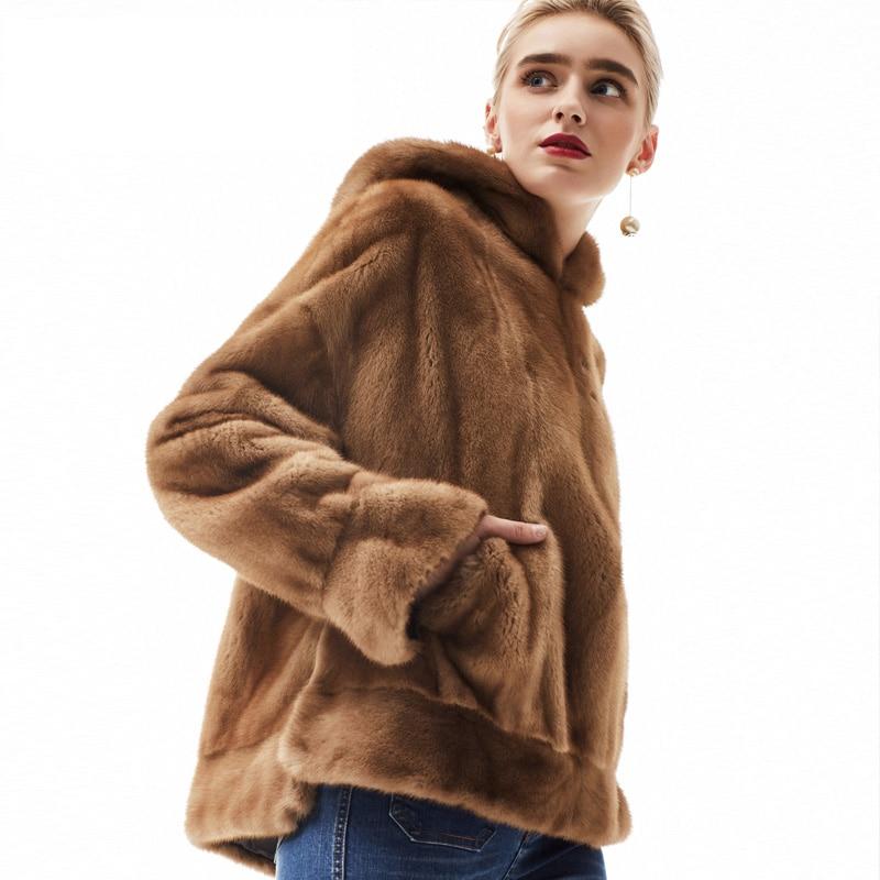 Fourrure 80123a Lumière Qualité Luxe Camel Manteau Mode Femmes Vison Velours Naturel Npi Avec Réel Bonne Martre Capot Vêtements De qETxP
