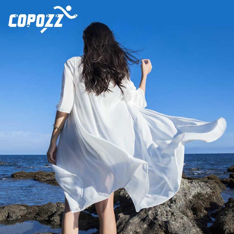 COPOZZ Beach Cover Up mujeres verano borla algodón playa vestido Sexy bata De Plage cubierta para traje De baño bikini 2019
