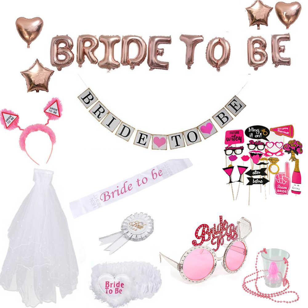 Девичник вечерние принадлежности для невесты реквизит набор белая розовая лента воздушные Шары Баннер повязка на голову вуаль курица сделать ночь свадебный душ