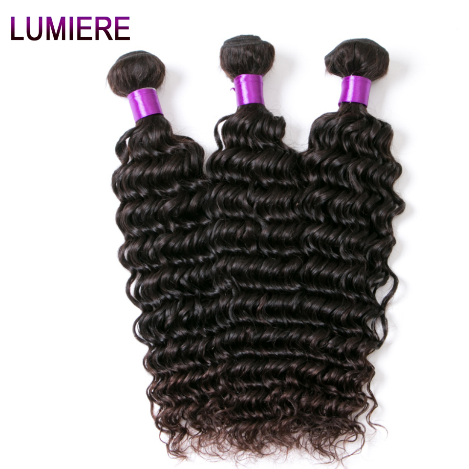 "Lumiere Hair Malaysian Deep Wave Bundles 100% Human Hair Non Remy Hair Weave Natural Color 10""-28"" 1 Piece Free Shipping"