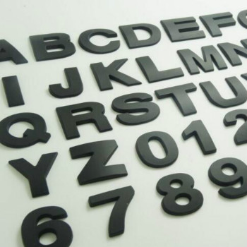 BLACK height 2.6CM Letter alphabet number digit car emblem Letters T U V W X Y Z 1 2 3 4 5 6 7 0 for modify decoration