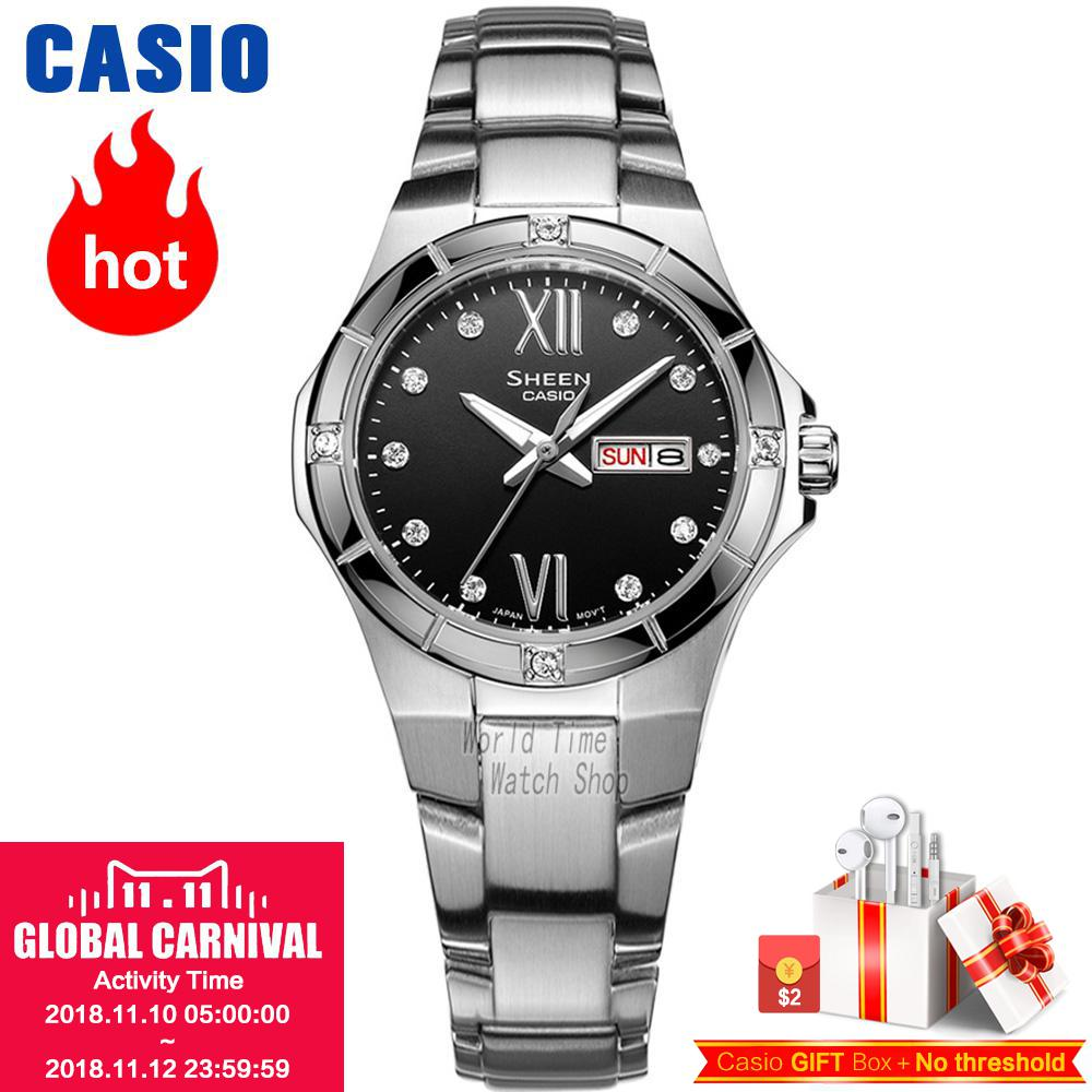 Casio watch Fashion Waterproof Steel Striped Diamond SHE-4021D-1A SHE-4021L-4A SHE-4022D-1A SHE-4022D-4A SHE-4022D-7A casio she 4022d 7a