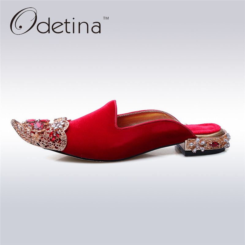 Odetina 2017 Luxury Mules Shoes Women Brand Designers Slingback Pumps Low Heel Half Slippers Slip on Loafers Rhinestone Metal odetina 2017 new woman slingback flats hollow out slip on flat shoes flower half slippers mules d ete pour femme plus size 32 43
