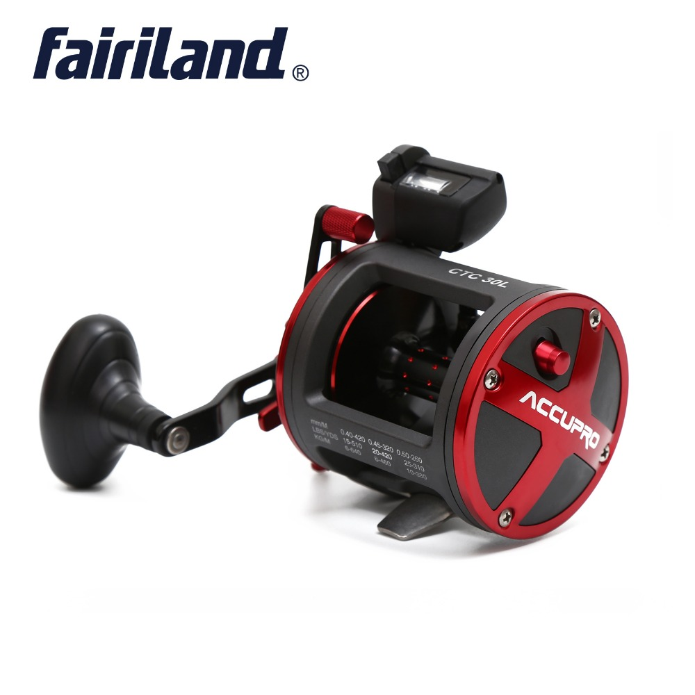 Fairiland 4BB Drum Trolling Reel with Digital Counter right Left hand 16Kg 35 lb Drag Power