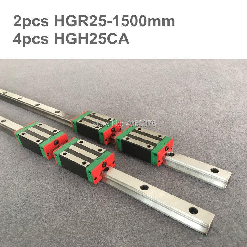 HGR original hiwin 2 pcs HIWIN linear guide HGR25- 1500mm Linear rail with 4 pcs HGH25CA linear bearing blocks for CNC parts hgr25 l 750mm hiwin linear guide rail with 2pcs blocks carriages hgh25ca cnc engraving router