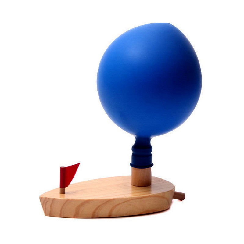 Wooden Ballon Powered Boat Toy 2 Ballons Classic Water Game Floating Toys for Children Education Baby Shower Swimming Pool Toys