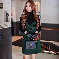 Original 2016 Brand Vestidos Autumn Winter Plus Size Sequined Rose Waist Fashion Casual Dark Green Dresses Women