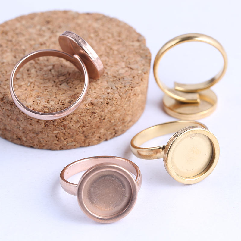 Onwear 10pcs Rose Gold Plated Fitting 12mm Round Cabochon Ring Blanks Adjustable Stainless Steel Base Setting Diy Jewelry Bezels