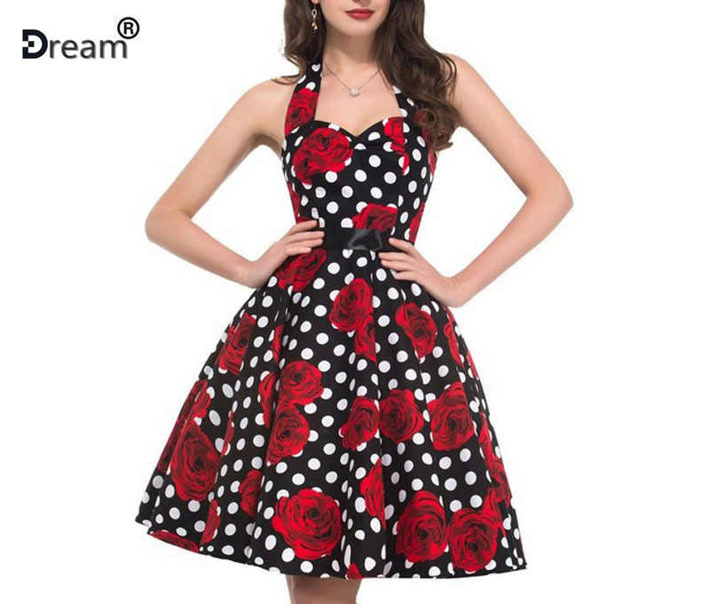 ผู้หญิง Polka Dot ชุด Big Swing Vestidos Retro Casual พรหม Rockabilly 50 s 60 s Pinup Vintage ชุด