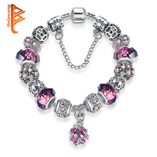 European 925 Antique Silver Beads Bracelet With Purple Murano Glass Pendant Charm Fit Original Bracelets for Women Jewelry