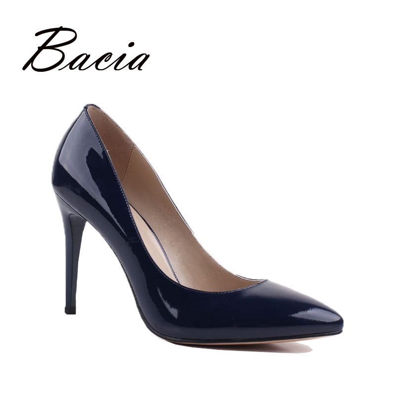 Bacia Sexy Pumps Fashion Pointed Toe 9.8cm High Heels Women Shoes Pumps Genuine Leather Luxury Women Pumps High Heels 2016 VD025 summer bling thin heels pumps pointed toe fashion sexy high heels boots 2016 new big size 41 42 43 pumps 20161217