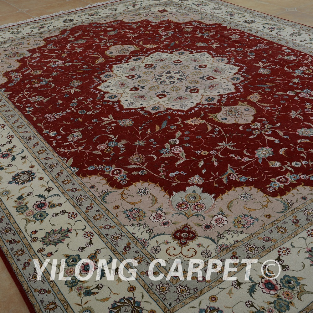 Moderne Teppiche In Rot Us 5616 48 Off Yilong 9 X12 Isfahan Wolle Seide Teppich Rot Handgemachte Exquisite Moderne Wolle Seide Teppiche 1363 In Yilong 9 X12 Isfahan