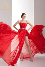 Bealegantom Sexy Fashion Red Crystal A-Line Evening Dresses 2017 With Pleat Chiffon Formal Party Prom Gown Vestido De Festa BE43