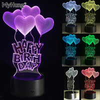 Colorful Happy Birthday 3D Visual LED Night Light Touch Switch Table Lamp USB 7 Color Room