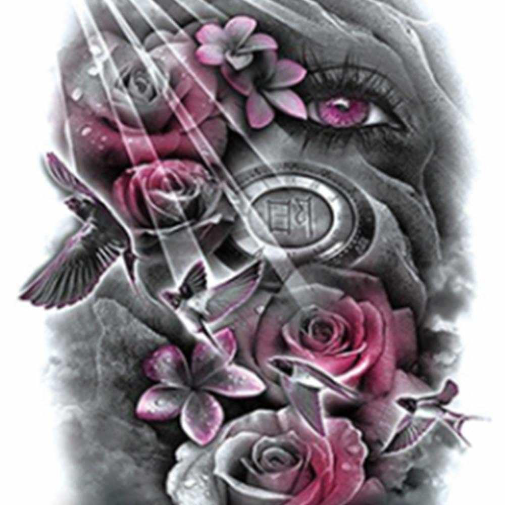 Autocollants de tatouage imperméables plein bras rose fleur gadgets monstre temporaire enfants tatoo corps bleu mélangé couleur Art peintures pour unisexe
