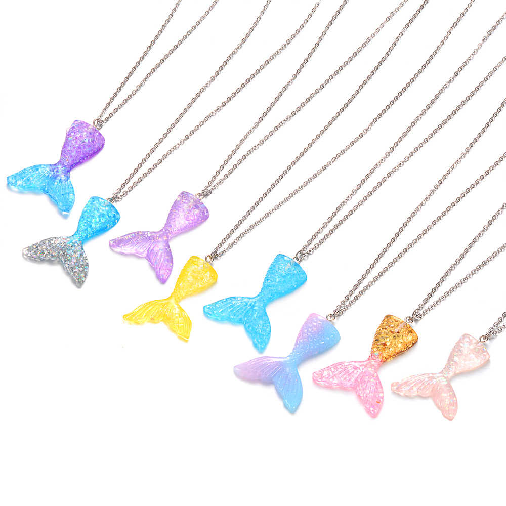 Mermaid Tail Pendant Necklace 45cm 50cm 60cm Pink Blue Silver Colors Fish Tail Handmade Jewelry Cute Birthday Gifts for Girls