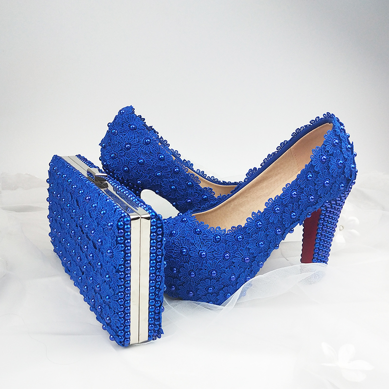 BaoYaFang Fashion Thick Heel Royal Blue Flower Wedding shoes for woman High heel platform shoes with