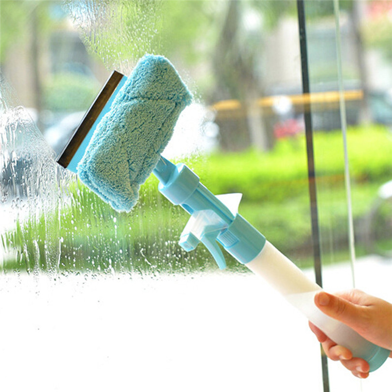 PP + terry cloth Glass Wiper Multifunction Magic Spray Water Brush Window Glass Cleaner Wiper Washing Brush window cleaner#4JY9|Magnetic Window Cleaners| |  - title=