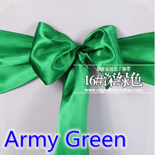 Army green colour high quality satin sash chair bow for chair covers sash spandex party and wedding decoration wholesale(China)