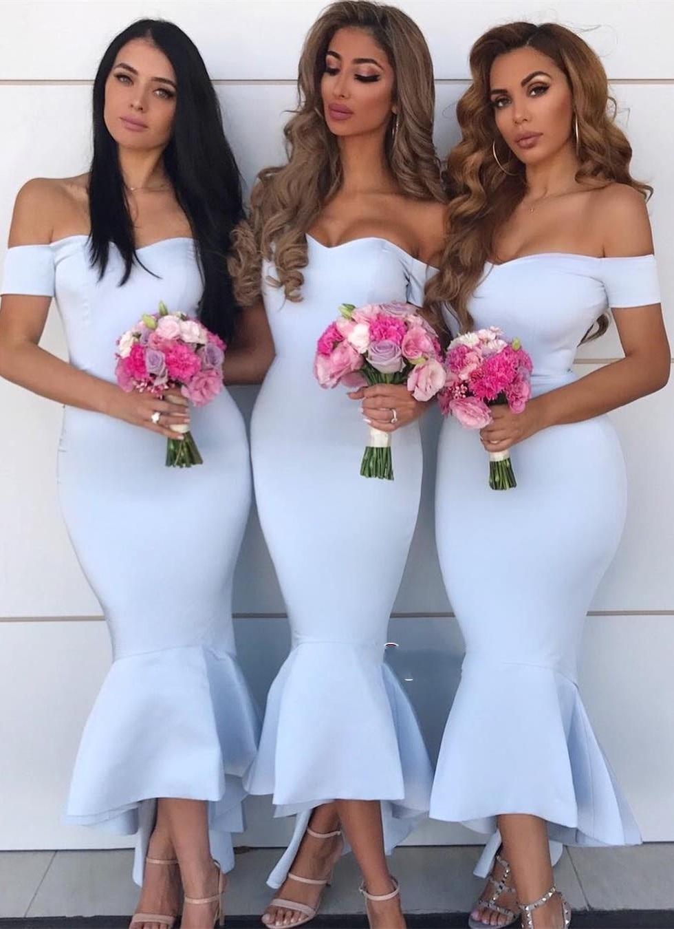 New Elegant Mermaid Bridesmaid Dress 2019 Off Shoulder Light Blue Wedding Party Gowns Cheap