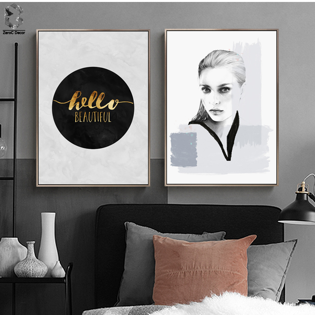 Nordic Canvas Posters And Prints Wall Art Black White Girl Painting