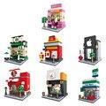 8 Conjuntos Hot New Hsanhe Cena Mini Blocos de Construção Arquitetura Nano blocos Brinquedos Crianças Brinquedo Educativo Presente
