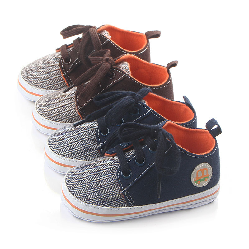 Autumn Newborn Baby Girl Boy Soft Sole Shoes lace-up canvas Toddler Anti-skid Sneakers stripe Casual first walker shoes