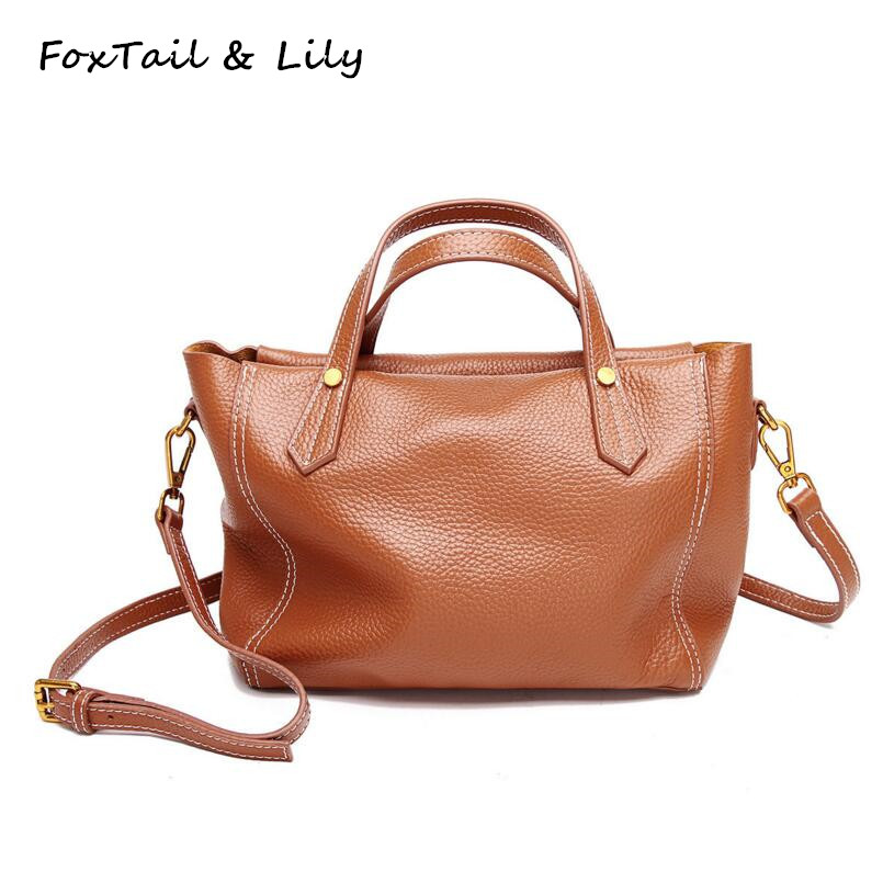 FoxTail & Lily Original Design Women Soft Leather Handbag Small Shoulder Bag Genuine Leather Female Crossbody Bags Simple Style
