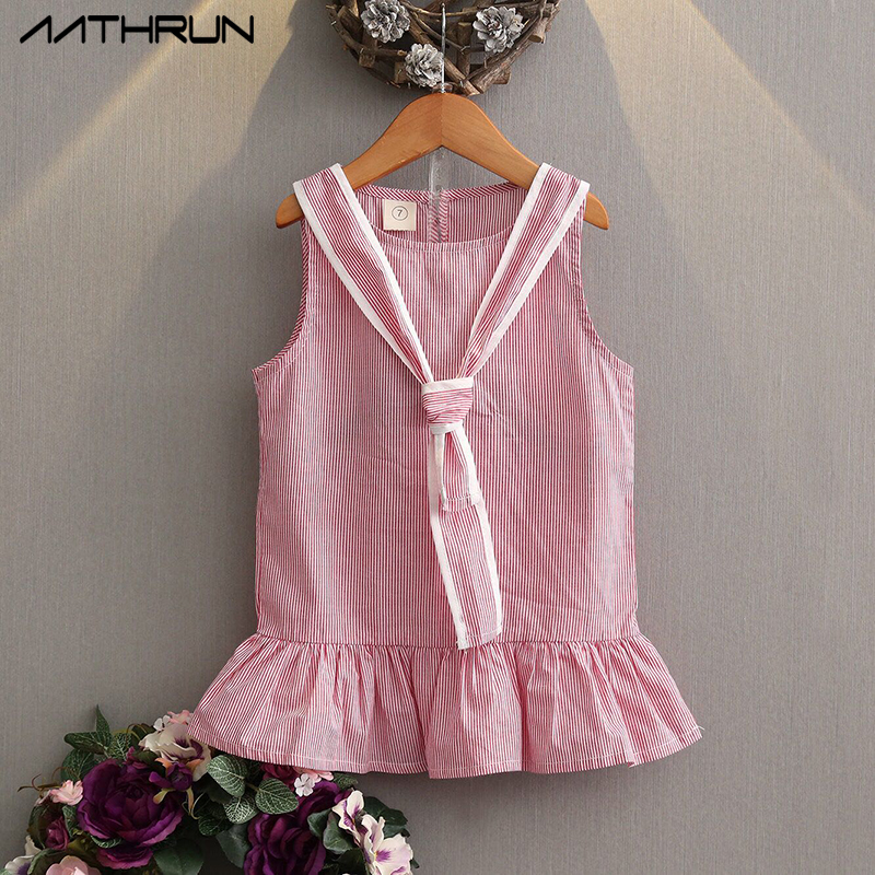 Baby Kids Girls Tie Dress New Summer 2017 Striped Sleeveless Princess Dresses Children Clothing Baby Girls Clothes Lotus Leaf summer girls dresses casual children clothing sleeveless striped baby clothes for girls o neck striped brilliant color