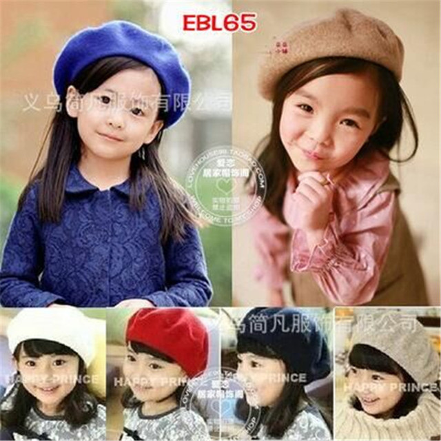 186693a9bf839 Children hat wool beret painter cap baby girls autumn and winter cap  wholesale free shipping