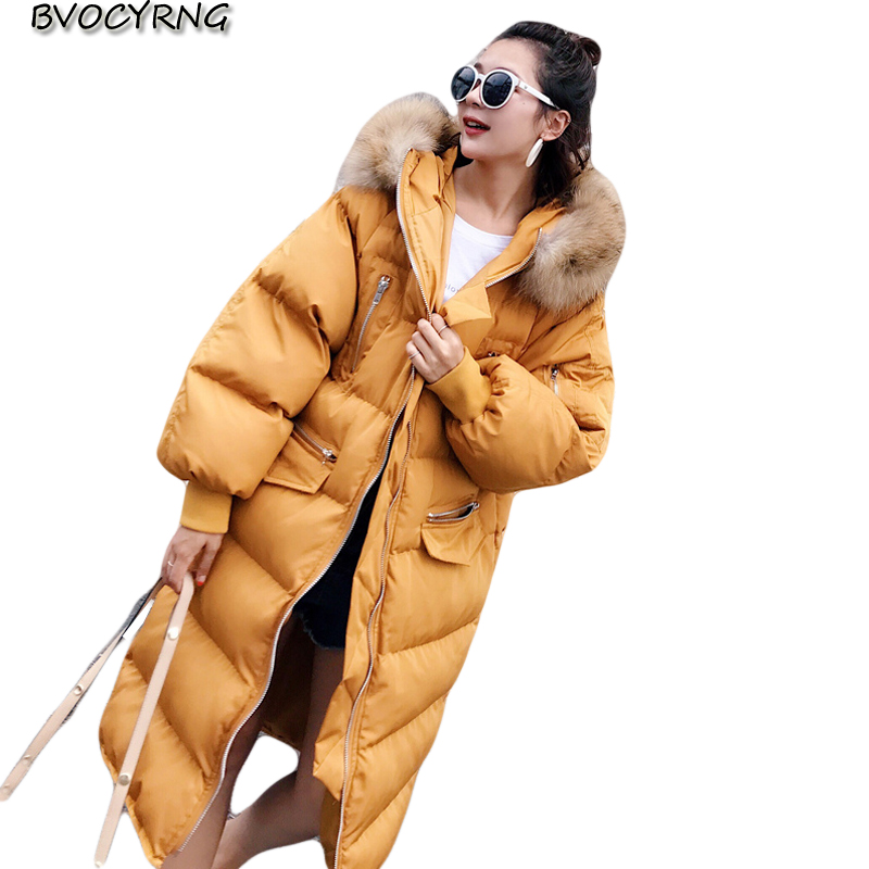 2017High Quality Heavy hair collar Winter Jacket Female Coat Fashion Loose Coat Women's Long Thick Down Cotton Warm Parka Q963 high quality thick warm wind down jacket female fashion casual cotton coat women winter coat jacket warm long outerwear overwear