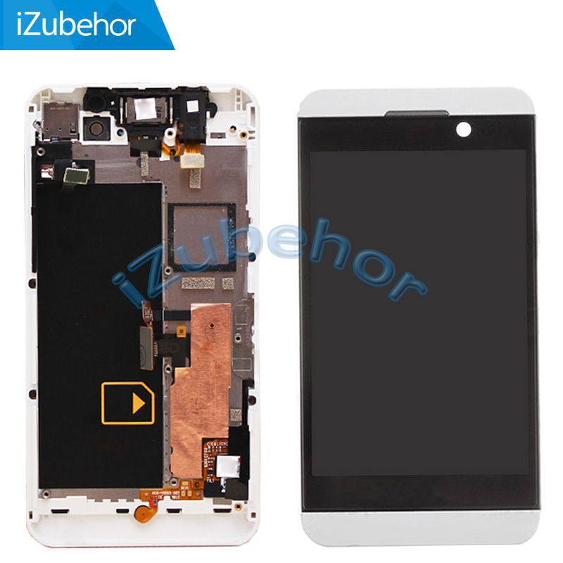 100% Warranty white LCD Screen Display with Touch Screen Digitizer + Frame Assembly for BlackBerry Z10 4G by free shipping