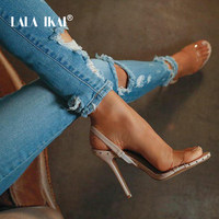 LALA IKAI Transparent High Heels Woman Vinyl Street Punk PVC Rivets Summer Sandals Women Shoes 014C1865 49