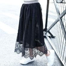 купить New Lace Skirt Long Skirt Summer Winter New Casual Loose Kids High Waist Elastic Children Girls Skirts For 5T-16T по цене 520.4 рублей