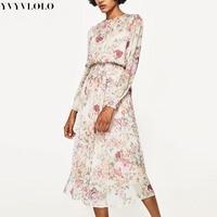 YVYVLOLO 2017 Cuban Girl Dress Women Summer Printed Dress Beach Maxi Dress Vintage Floral Dresses Women