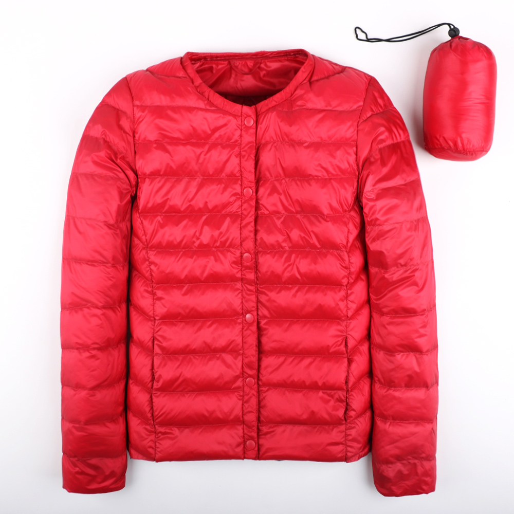 New Autumn Spring Ultra Light Down Jacket Women White Duck Down Coat Casual Collarless Warm