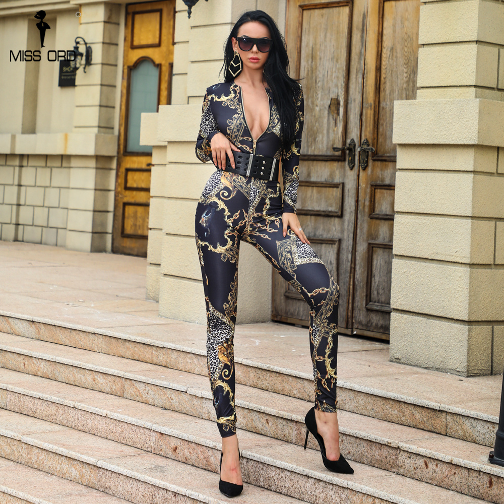 Missord 2019 Sexy Long Sleeve Print Skinny   jumpsuit   Cloak Style Zipper Playsuit FT18575-1