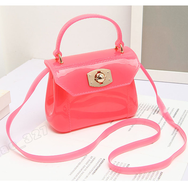 Jellyooy Women Mini Candy Color Pvc Jelly Handbag Kid S Shoulder Bag Baby Patent Transpa Purse