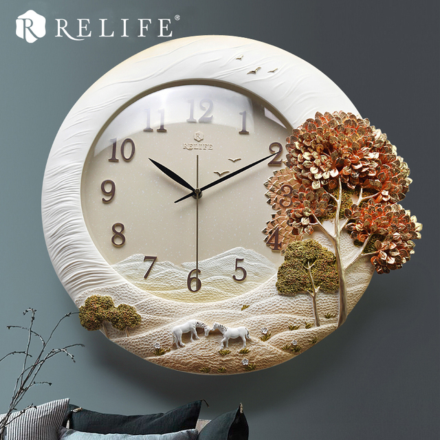 Wall Clock 100% Handpainted Tree Resin 3D Home Clock for Living Room