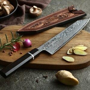 Image 2 - HEZHEN 8 inch Kiritsuke Chef Messen Japanse High Carbon Damascus Rvs Santoku Messen Ebbenhout + Buffelhoorn Handvat
