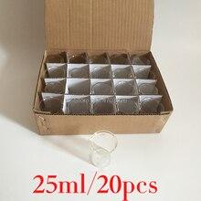 25ml 20 sztuk/zestaw Pyrex zlewki szkło laboratoryjne ze szkła borokrzemianowego do pomiaru chemicznego kubek płaskie dno dla badań naukowych