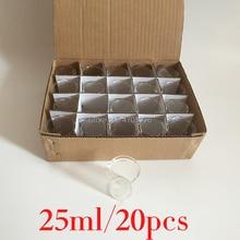 25ml 20 יח\סט פיירקס כוס ורוסיליקט זכוכית מעבדה זכוכית כימי מדידת כוס שטוח תחתון לבדיקה מדעית